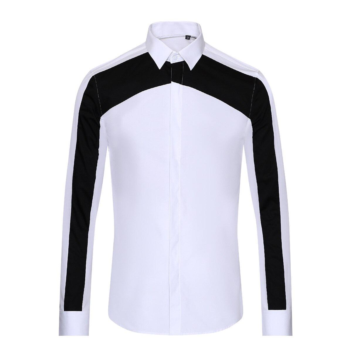 قمصان هندسية بالأبيض والأسود للرجال ، قمصان غير رسمية بأكمام طويلة ، مقاس MLXL2XL 3XL ، مجموعة جديدة 2020
