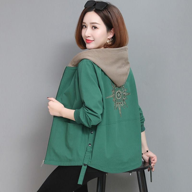 2021 Autumn Women's Coat Hooded Jacket Long Sleeve Zipper Pockets Casual Windbreaker Basic Jackets O