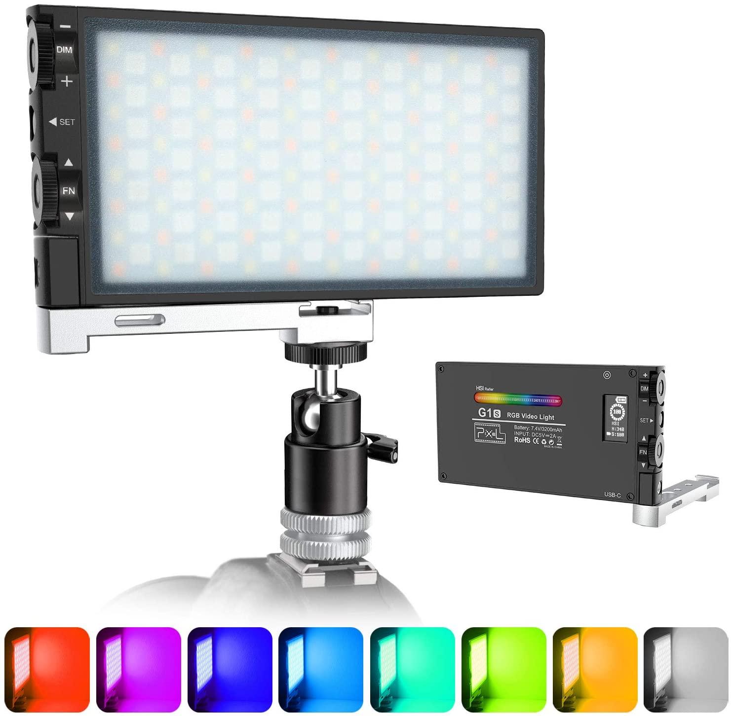 ترقية G1s رغب الفيديو الضوئي ، القابلة لإعادة الشحن المدمج في بطارية كاميرا ليد ضوء ، 360 درجة كامل اللون عكس الضوء 2500K-8500K ليوتيوب D