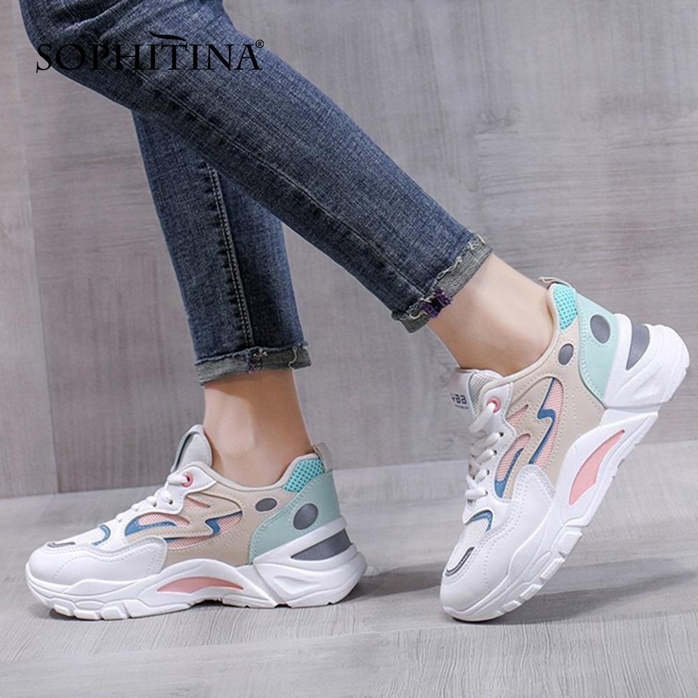 سوفيتينا حذاء كاجوال نسائي حذاء رياضي مطابق للكل حذاء بشبكة يسمح بالتهوية مختلط الألوان حذاء رياضي مسطح عصري للسيدات DO876
