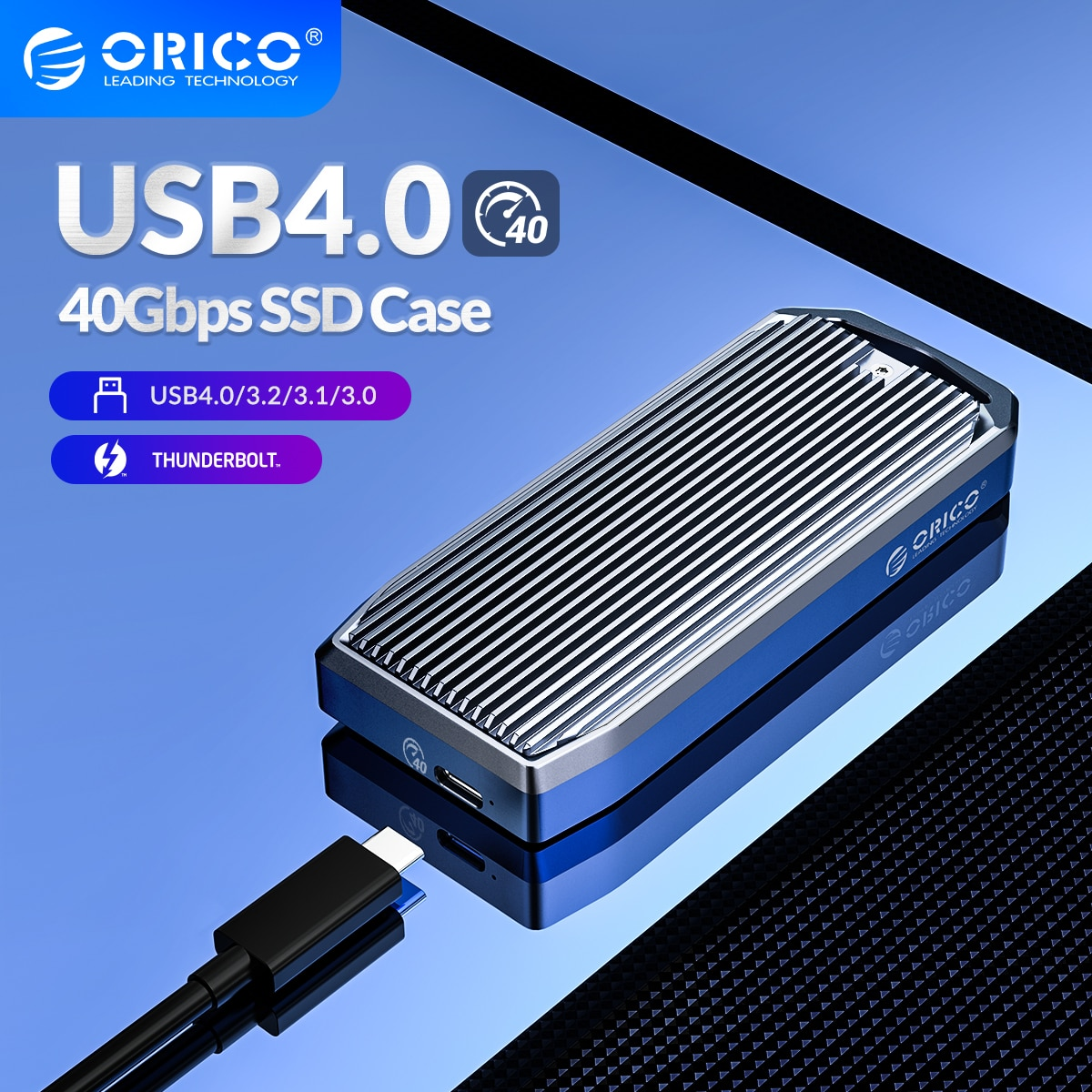 ORICO LSDT USB4.0 M.2 SSD Case 40Gbps M2 NVMe Case Compatible with Thunderbolt 3 4 USB3.2 USB 3.1 3.0 Type-C Multiple Protocols