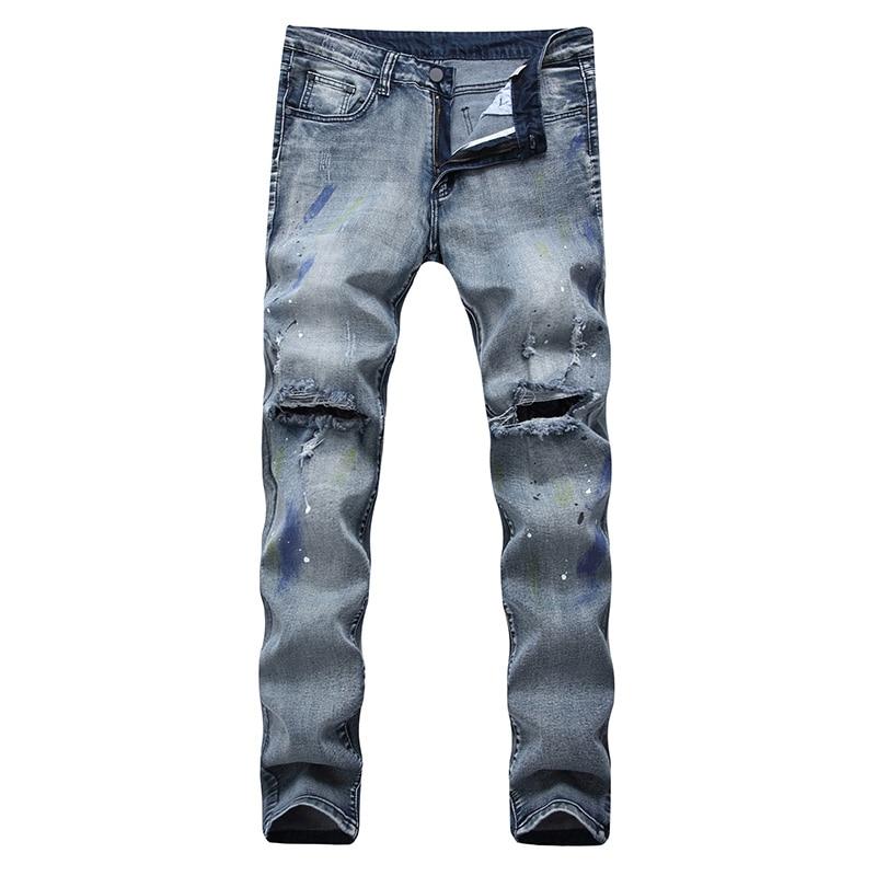 High-Elastic Men Skinny Jeans Biker Destroyed Frayed Fit Ripped Denim Pencil Pants Hip Hop Streetwear Male Straight Trousers