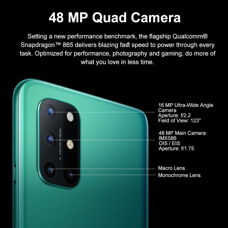 Фото4 - Глобальная версия OnePlus 8T, 8 T, OnePlus Official Store, 8 Гб 128 Snapdragon 865 5G смартфон 120 Гц активно-матричные осид жидкости Экран 48MP Quad камеры 4500 мА/ч, 65 Вт Warp; code:...