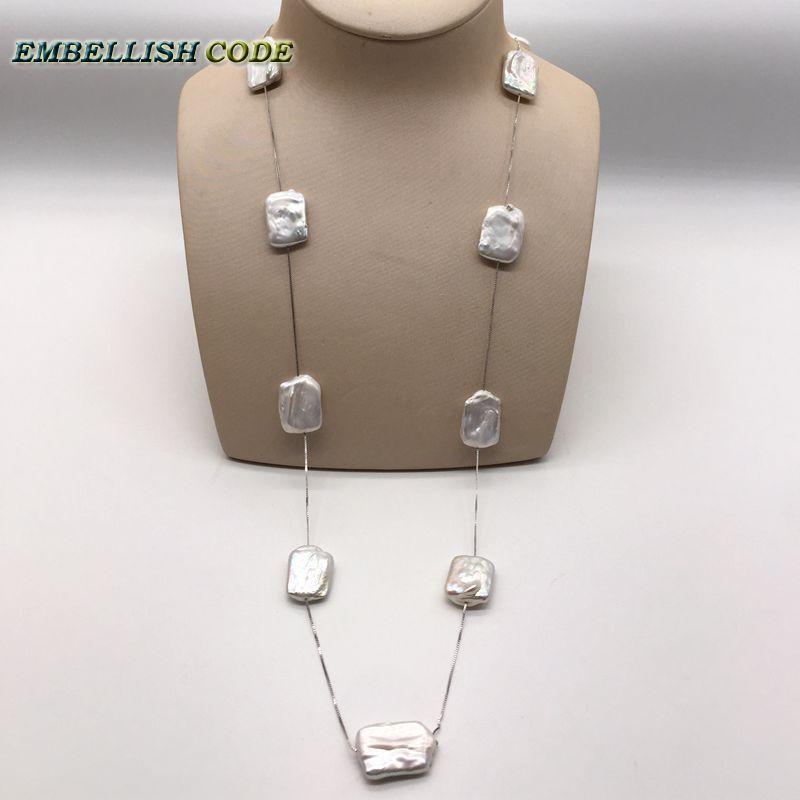 Collar largo de 90cm/36 pulgadas con doble bloque de forma rectangular blanco para cada cadena de suéter perlas de agua dulce reales
