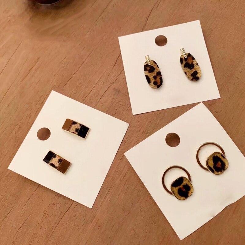 Coreano nuevo de moda Simple geométrico leopardo acrílico impreso ácido acético pendientes de tachuela cuadrados Oval Camber joyería femenina 2019