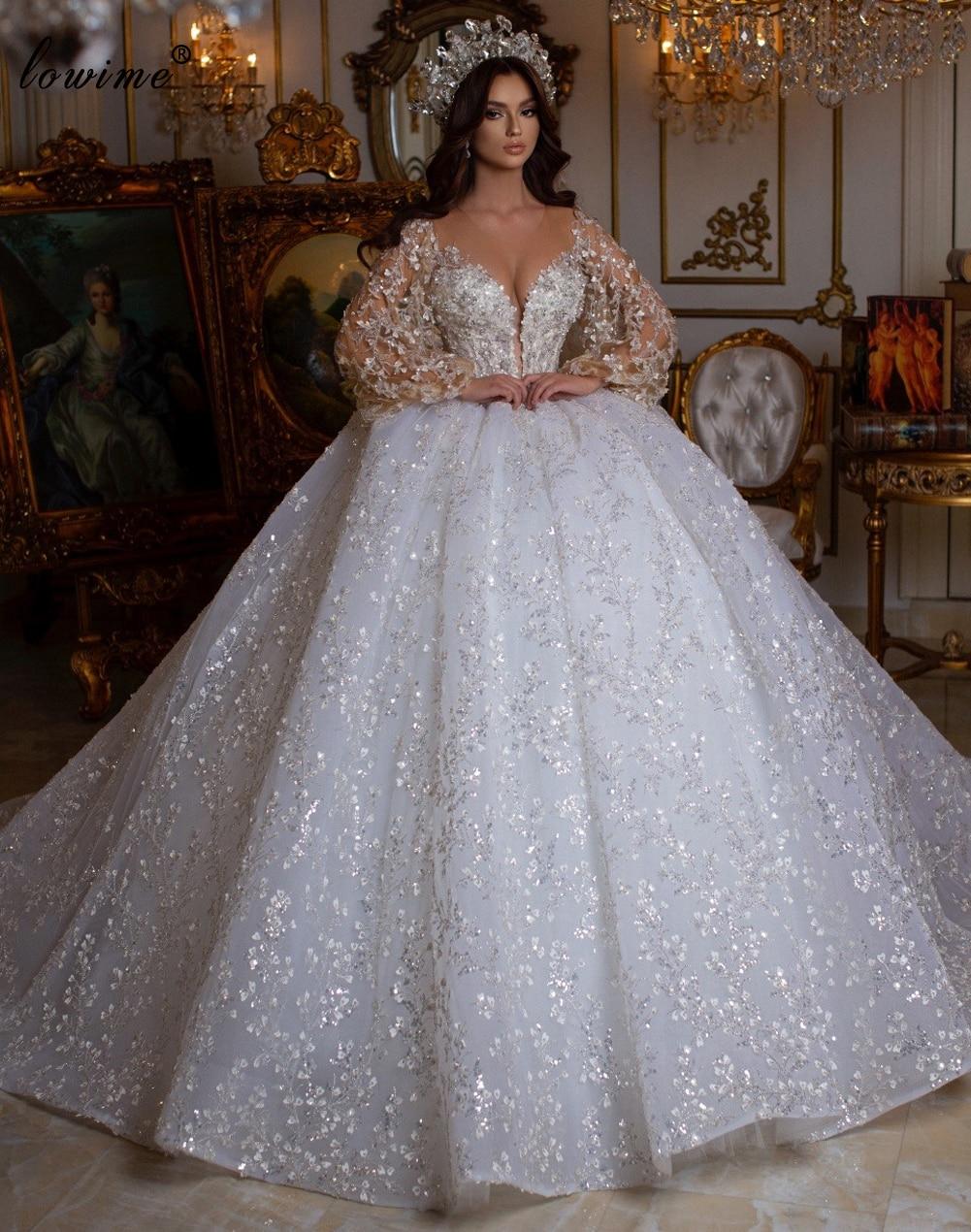 فساتين زفاف فاخرة لامعة 2021 a خط سباركلي أكمام طويلة فساتين زفاف الأميرة فساتين زفاف للنساء رداء دي ماريج
