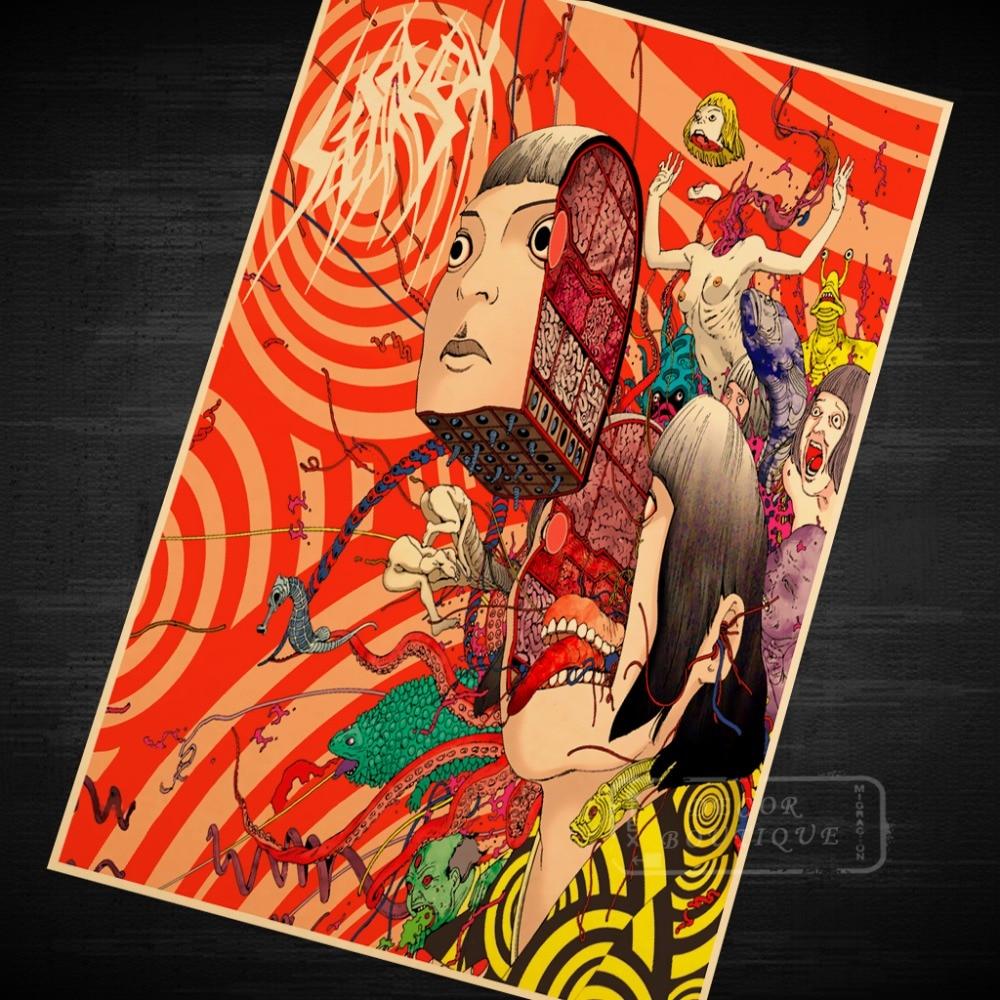 Cut head woman Comics Series Shintaro Kago manga Akira Toriyama Retro Vintage Poster Canvas Painting Wall Art Home Posters Decor
