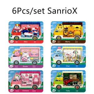 6Pcs/lot Sanrxo X S1~S6 Animal Croxxing Card Of Amxxbo NFC Ntag215 Tag For NS Switch Toby Sanrioed X Mini Standard
