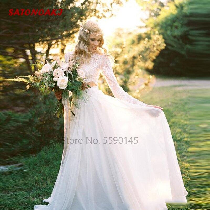 2020 جديد رومانسية قطعتين بوهو فستان الزفاف طويل الأكمام الدانتيل أعلى الشيفون الشاطئ البلاد الزفاف أثواب Vestido دي Novia على الانترنت