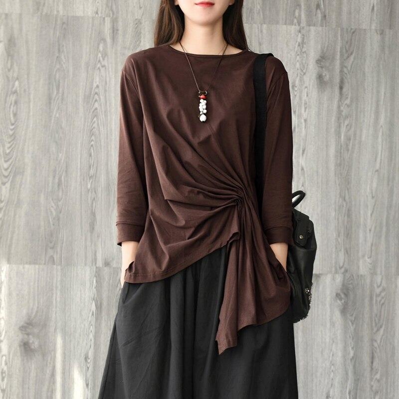 فستان نسائي قطني بأكمام طويلة ، مقاس كبير ، أزياء فنية ريترو ، مطوي ، لون عادي ، يتناسب مع كل شيء ، فستان خريف غير منتظم