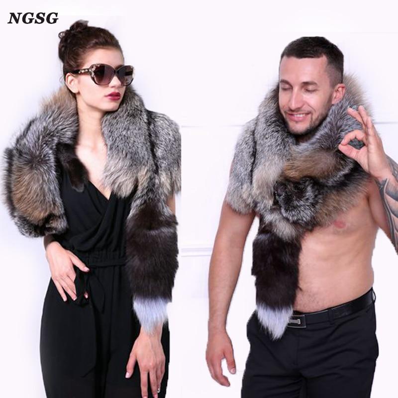 Unisex whole genuine fox fur scraf winter natural real silver fox couple's wedding shawl luxury gold fox decoration accessorie