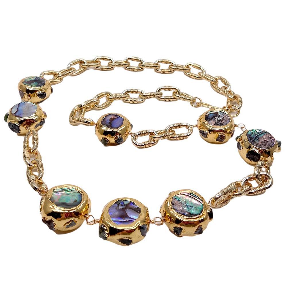 Y · ينغ الطبيعية قوس قزح اللون أذن البحر شل الخرز سلسلة مطلية بالذهب قلادة طويلة 28