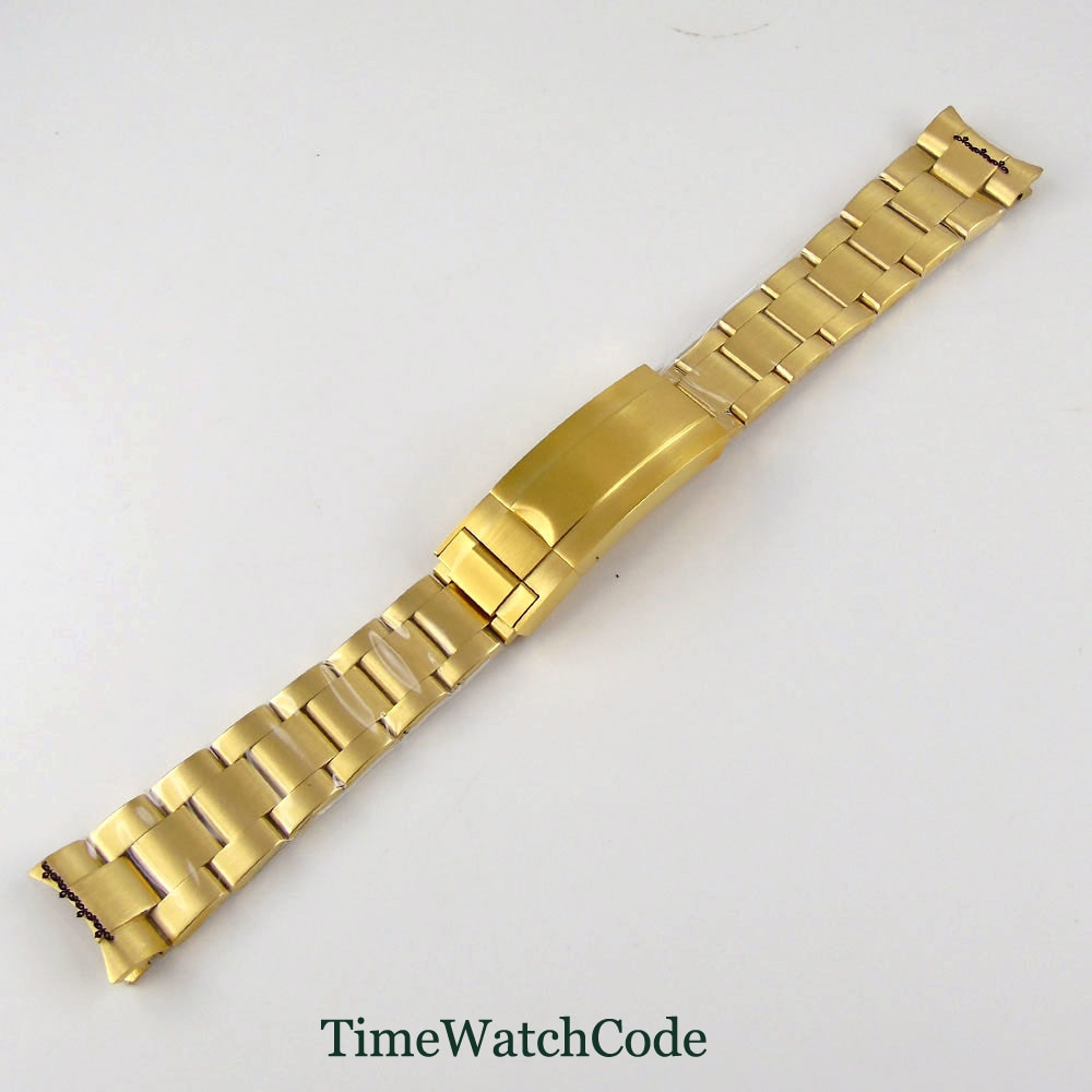 Pulseiras de Relógio Apto para Relógio Peças Dourada Banhado Estilo Oyster Pulseira Dobrável Fecho Aço Inoxidável Escovado Masculino 20mm Cor