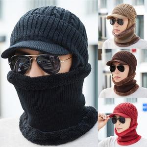 Men Winter Warm Twist Earmuffs Knit Cap collar Hat Neck Warmer Crafts Knit Visor Beanie Fleece Lined Ear Flap Cap