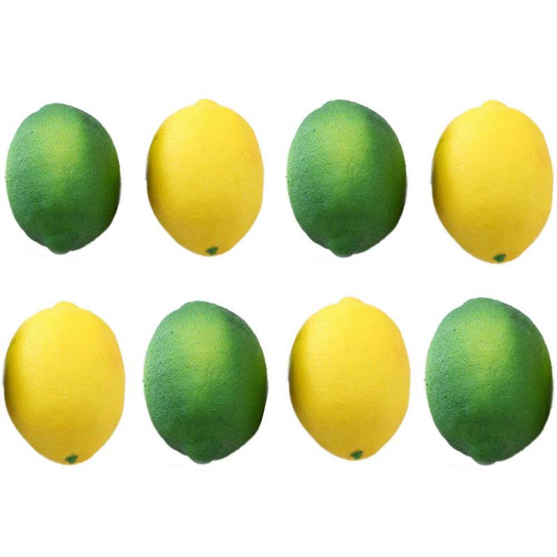 ¡Promoción! Paquete de 8 limones falsos artificiales fruta para la decoración del Partido de la cocina del hogar del relleno del jarrón, amarillo y verde