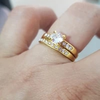 fashion lovers rings set cubic zirconia decoration yellow gold color wedding engagement jewelry accessories