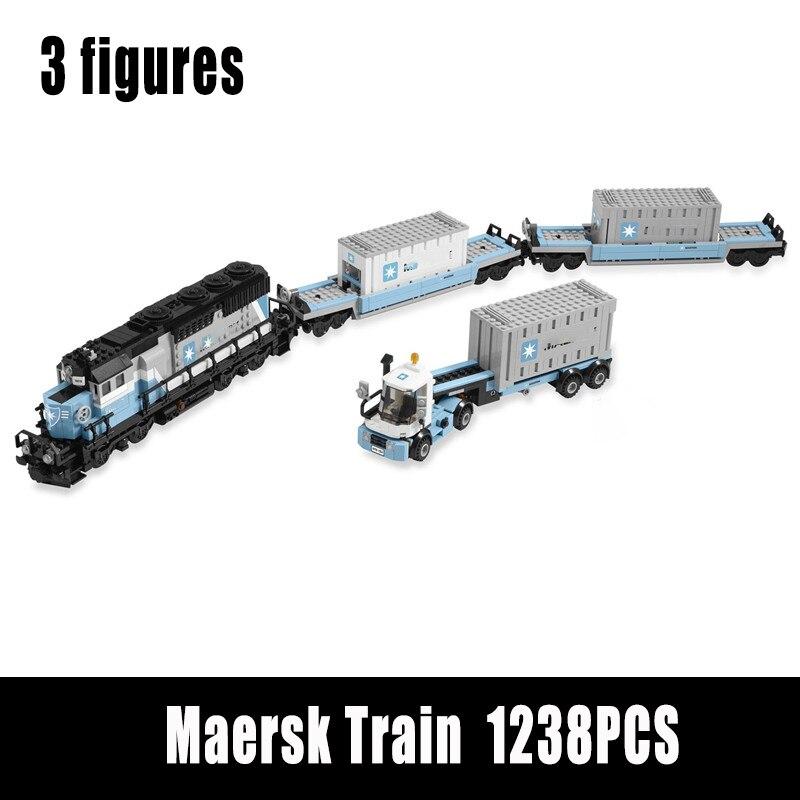 طوب نموذج القطار Maersked عالي التقنية متوافق مع 10219 قطعة بناء ألعاب النقل بالسكك الحديدية للأطفال هدايا عيد الميلاد