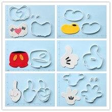 Jeu de coupe-biscuits en plastique   Classique, personnage de dessin animé Micky mouse, pantalon chaussure cœur, gant à main, pouce 3D imprimé PLA