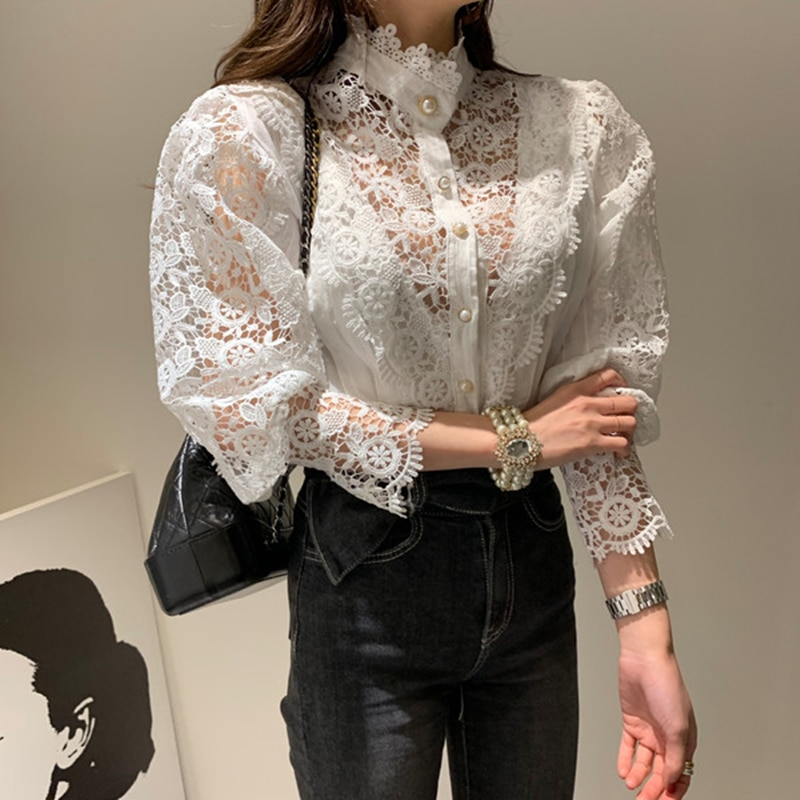 Chic Women Lace Sheer Blouse office lady Long Sleeve Top Shirt Fashion  White Female