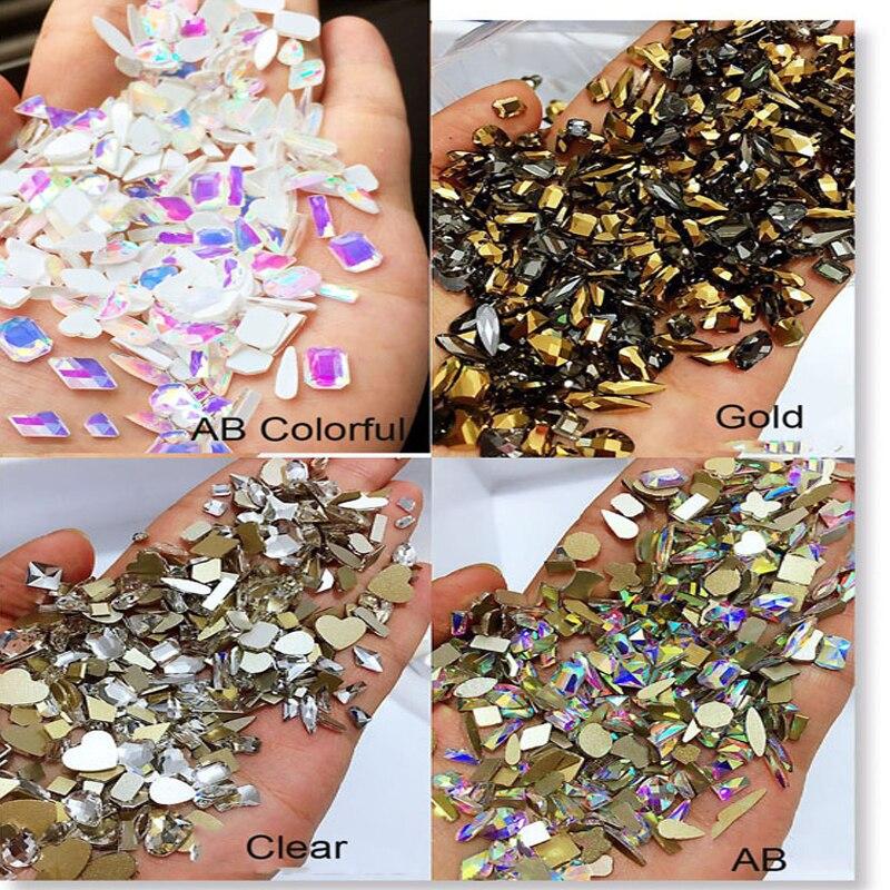 100 Pcs Nail Crystal Rhinestones Multi-Shapes Clear/AB Mix Stones Gems Non Hotfix Rhinestone Strass For Nail Art Accessories