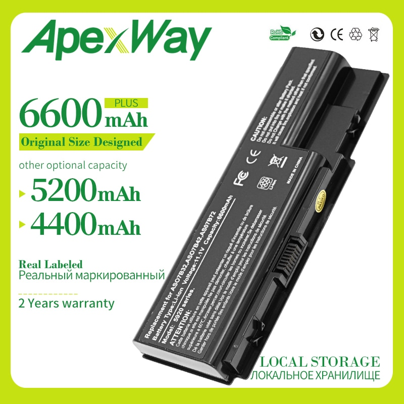Apexway 11,1 V batería nueva para Acer Aspire 5739g 5220g 6930g 5920g...