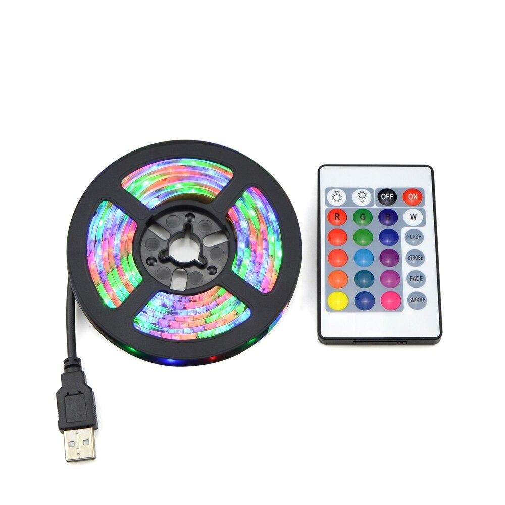 RGB luces LED 2835 SMD 60LED/M gabinete Cocina LED cinta 1-5m impermeable tira armario TV decoración lámpara 5V USB Cable de carga