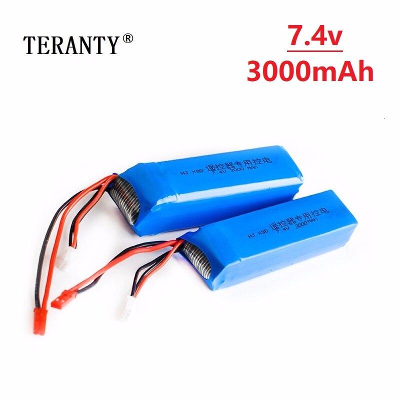 Original 7,4 V 3000mAh Lipo batería para Frsky Taranis X9D Plus transmisor juguete accesorios 2s 7,4 v batería recargable 5 uds