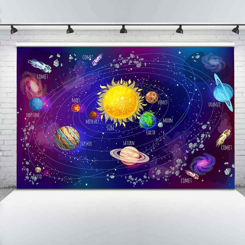 Cosmic Space Adventure Photography Backdrop Planet Astronaut Birthday Photo Background Newborn Baby Shower Photo Shoot Photocall enlarge
