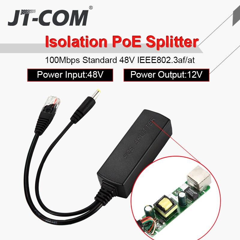 PoE Splitter  48V To 12V POE Connectors Splitter Extender Injector  IEEE802.3af/at 10/100M For Hikvision POE Splitters