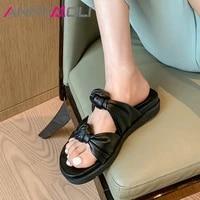annymoli women sandals genuine leather shoes sheepskin slides flat platform pleated slippers summer ladies footwear beige 40