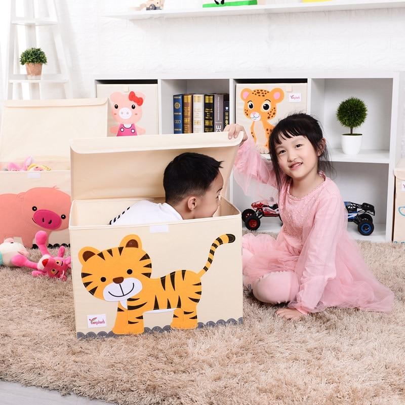 Large Cube folding storage box Toy organizer Cartoon animal Canvas clothes Storage Bin with Lid for Books Stuffed