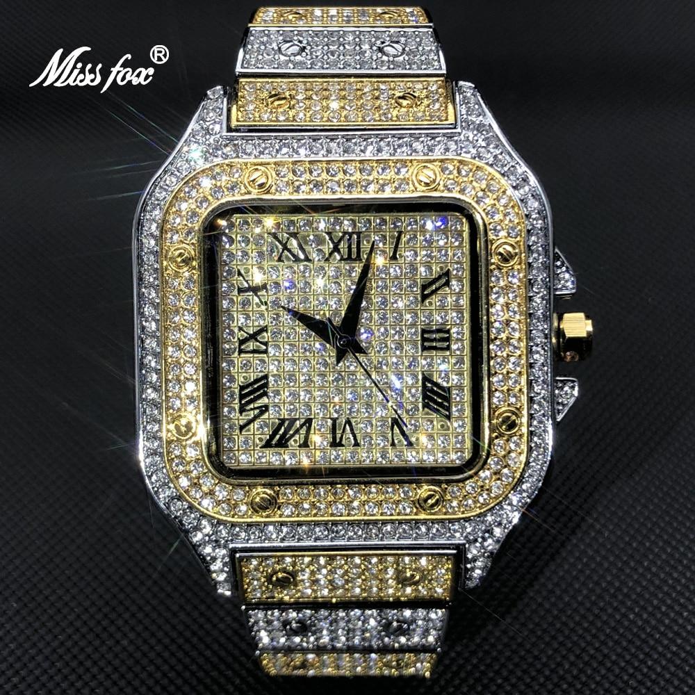 MISSFOX الذهب الأبيض الرجال الساعات العلامة التجارية الفاخرة كامل الماس ساحة كوارتز ساعة الذكور الهيب هوب الجليد خارج مقاوم للماء ساعة هدية 2021