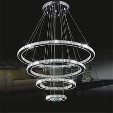 Grande lustres de led moderno 98 w 4 anéis k9 cristal teto pendurado luminária para sala estar jantar anel lustre grande círculo lâmpada