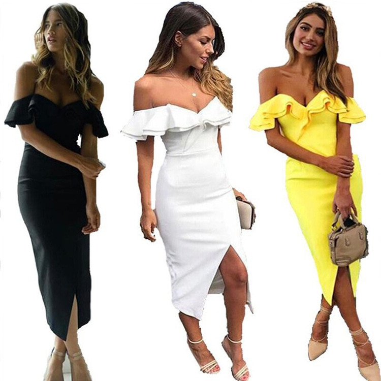 Hot One-shoulder Sexy Double Ruffled Front Split Dress and Calf Ruffled Dress Plus Size Bridesmaid D