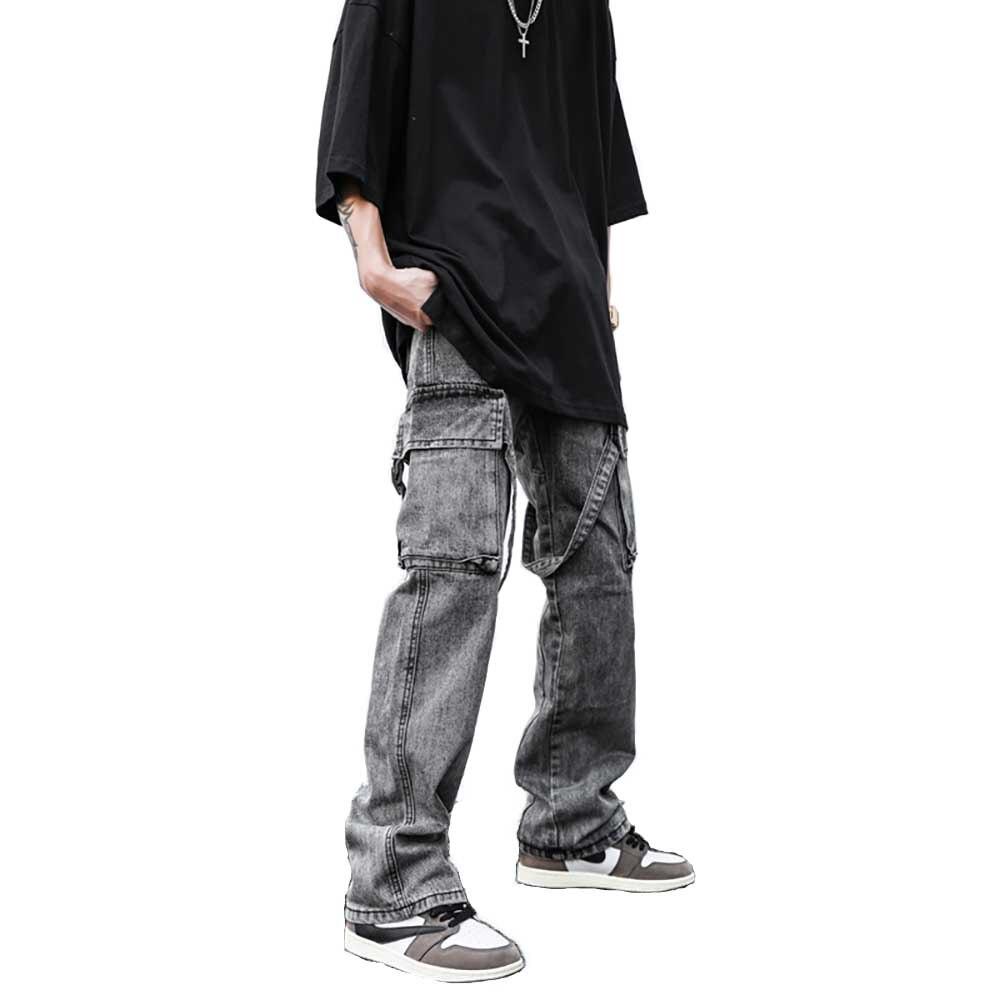 Джинсы-карго мужские прямые с поясом, свободные потертые брюки-карго в стиле ретро, уличная одежда с разными карманами