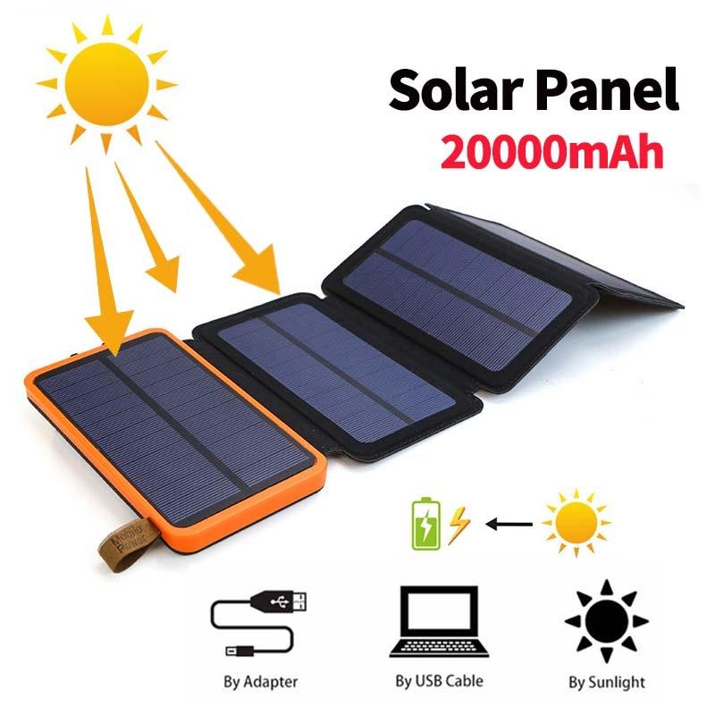 Banco de energía Solar a prueba de agua de 20000mAh, paneles solares plegables portátiles para acampar al aire libre, 5V, 2a, dispositivo de salida USB, energía Solar para teléfono