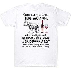 Uma vez que havia uma menina que realmente amava elefantes vinho disse fck muito engraçado camiseta