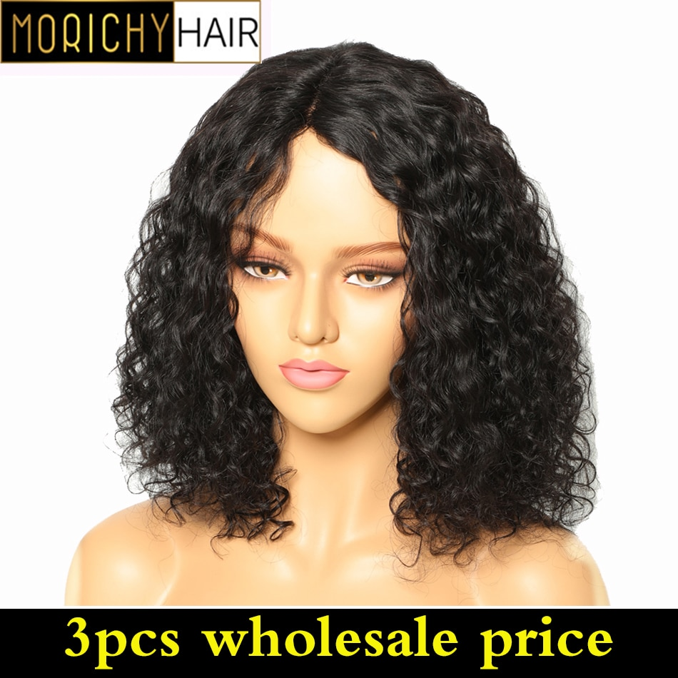 3PCS Wholesale Morichy Curly Short Bob Wigs Non-Remy Malaysian Human Hair Part Lace Head Seam Natural Color Energetic human wigs
