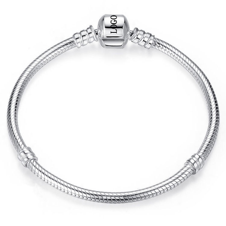 Fashion Charm Chain Basic Snake Bracelet Fit Original Pandoras Logo Charms S925 Silver Bangles DIY Jewelry Valentine's Day Gift