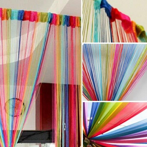 Cortina caliente Vogue para Panel de ventana de puerta divisor de sala de estar cortina de cuerda cortina decorativa Multicolor 2M * 1MG