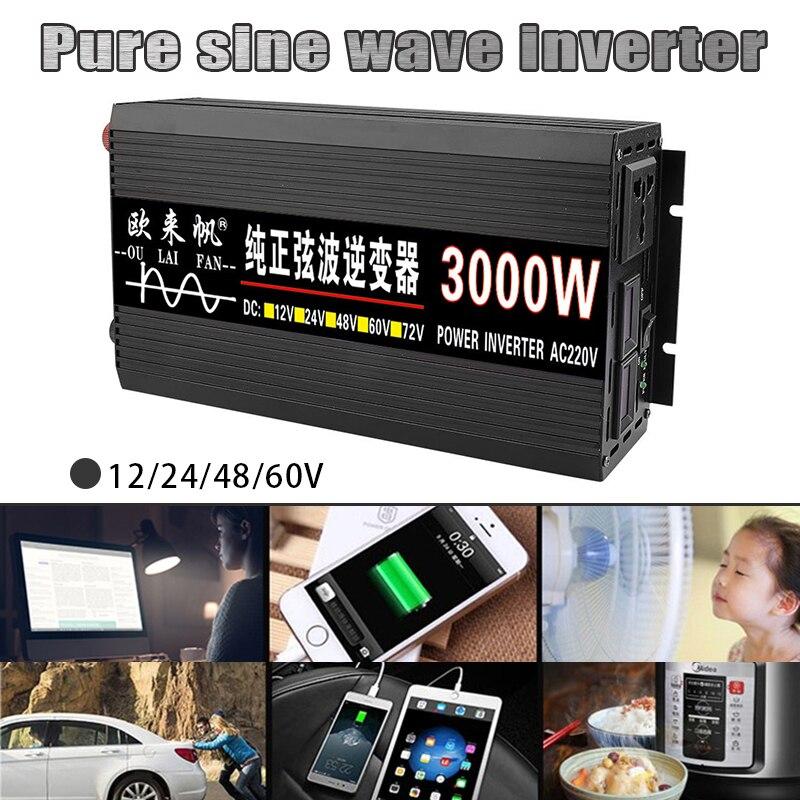 محول شاحن سيارة آلي محمول قوة محول محول محول شرط لموجة عالمية 3000W12/24/48/60 فولت-220 فولت LCD