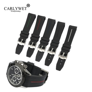 CARLYWET 20mm High Quality Rubber Watch Band Strap With Silver Steel 18mm Buckle For Rolex  Daytona  GMT  Vintage Submariner