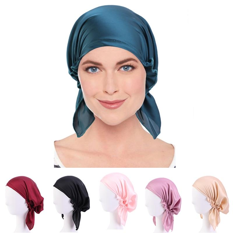 Neue Seidige pre-gebunden Muslim Hijab Caps frauen Hijab Krebs Chemo Mützen Caps Headwear Kopf Wrap Haar Verlust headwear Zubehör