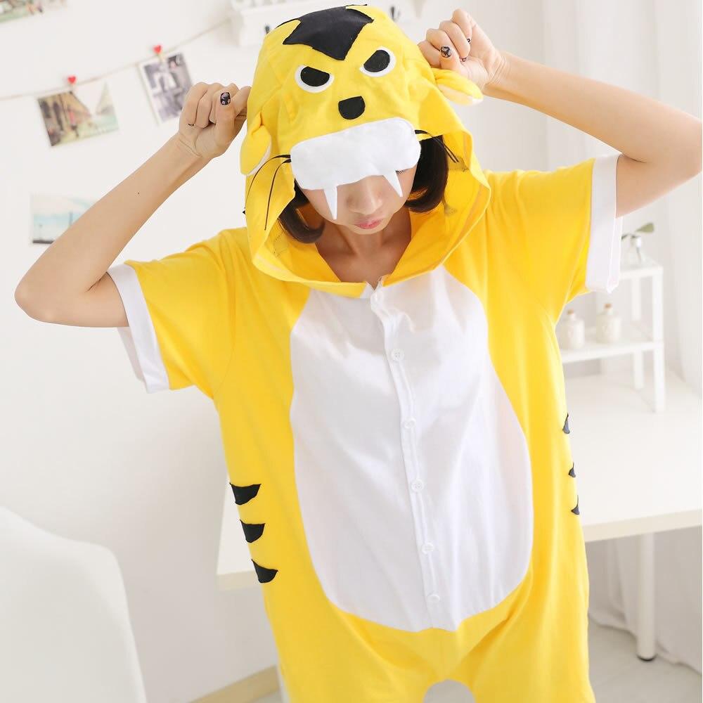 Unisex verão macacão animal pijamas anime sleepwear algodão macacão pijamas para adultos pijama festa pjs conjunto feminino tigre