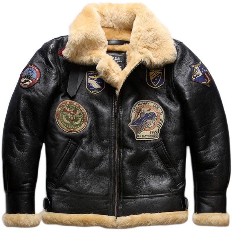 2020 New Men Black Fur Pilot Jacket B3 Flight Jackets Fashion Multi-label military Wool Liner Sheepskin Coat Winer Russia Coats