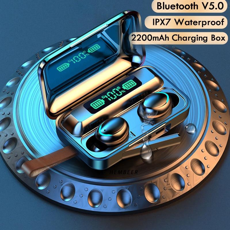 TWS Bluetooth 5.0 Earphones 2200mAh Charging Box Wireless Headphone 9D Stereo Sports Waterproof Earbuds Headsets With Microphone