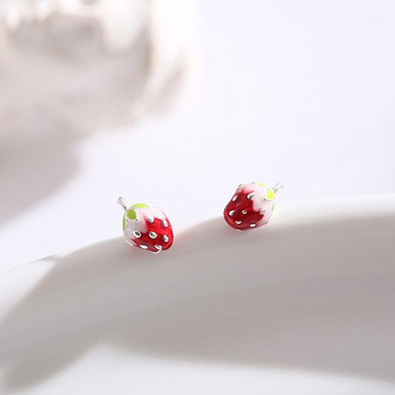 OBEAR  Fruit Stud Earrings Simple Small Cute Strawberry Student Fresh Girl Earrings