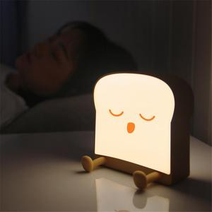 Cartoon Night Light Cute Toast Bread Led Lamp Mobile Phone Holder Bedroom Bedside Atmosphere Silicone Night Light Creative Gift