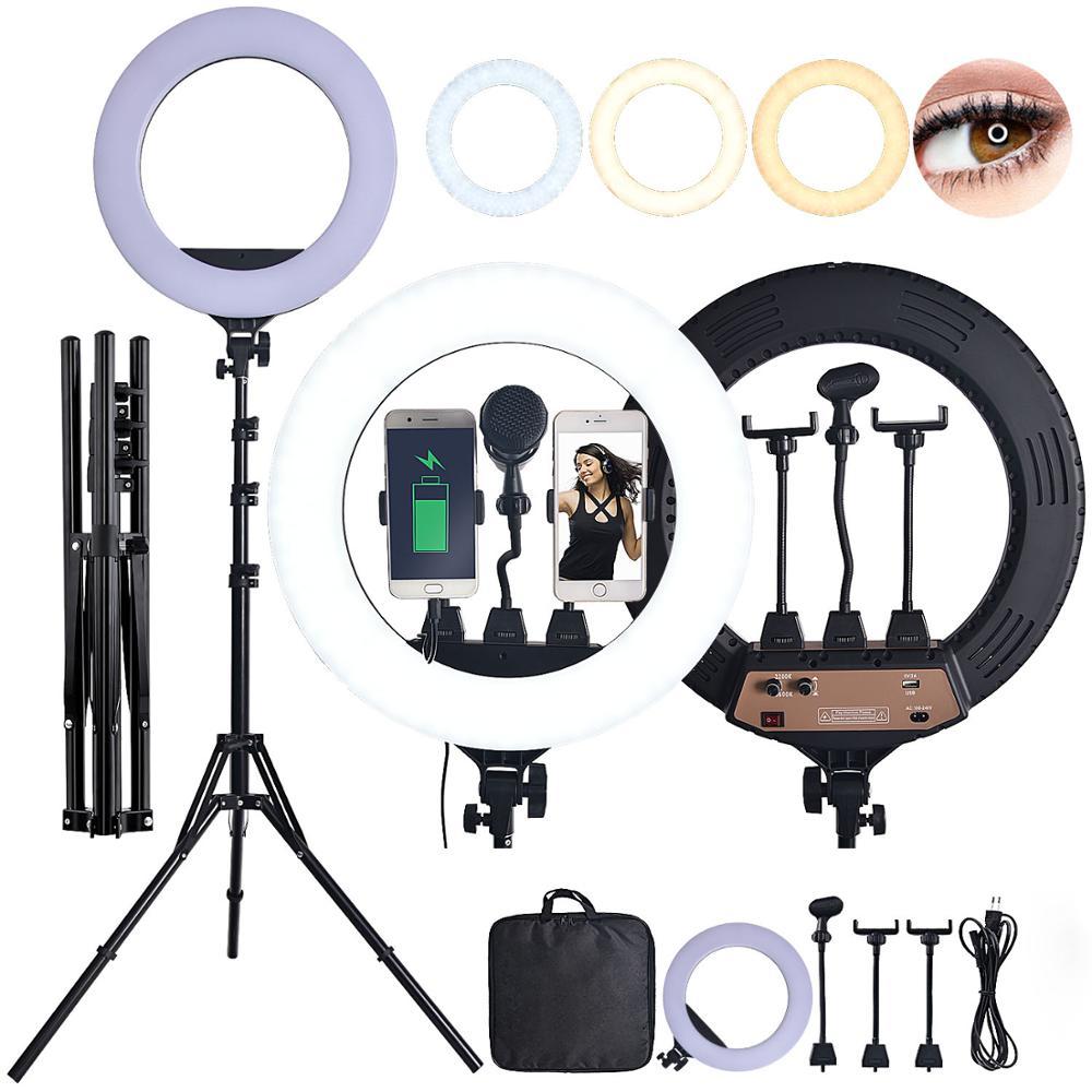 Fosoto-حلقة إضاءة Led مزدوجة اللون ، 18 بوصة ، 80 واط ، مع حامل ثلاثي القوائم وميكروفون ، للتصوير الفوتوغرافي ، الكاميرا ، الهاتف