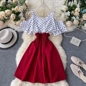 2021 Summer Sexy Woman Dress Ruffles Off Shoulder Polka Dot Print Patchwork Short Slim Waist Dress Casual A-line Beach Dress